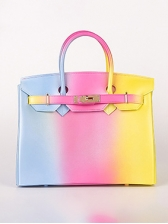 Chic Gradient Color Large Capacity Frosted Handbag