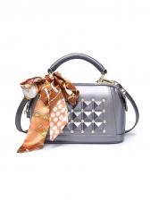 Diamond Scarf Decor Zipper Up Women Shoulder Bag