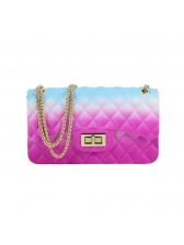 Large Size Gradient Color Diamond Pattern Chain Bag