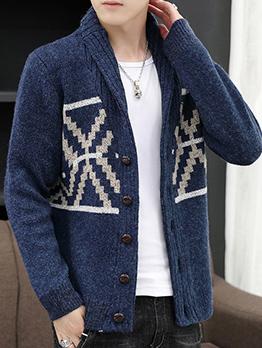 New Style Knitting JacquardWeave Mens Cardigan