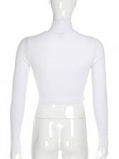 High Neck Long Sleeve Cropped Women T-shirts