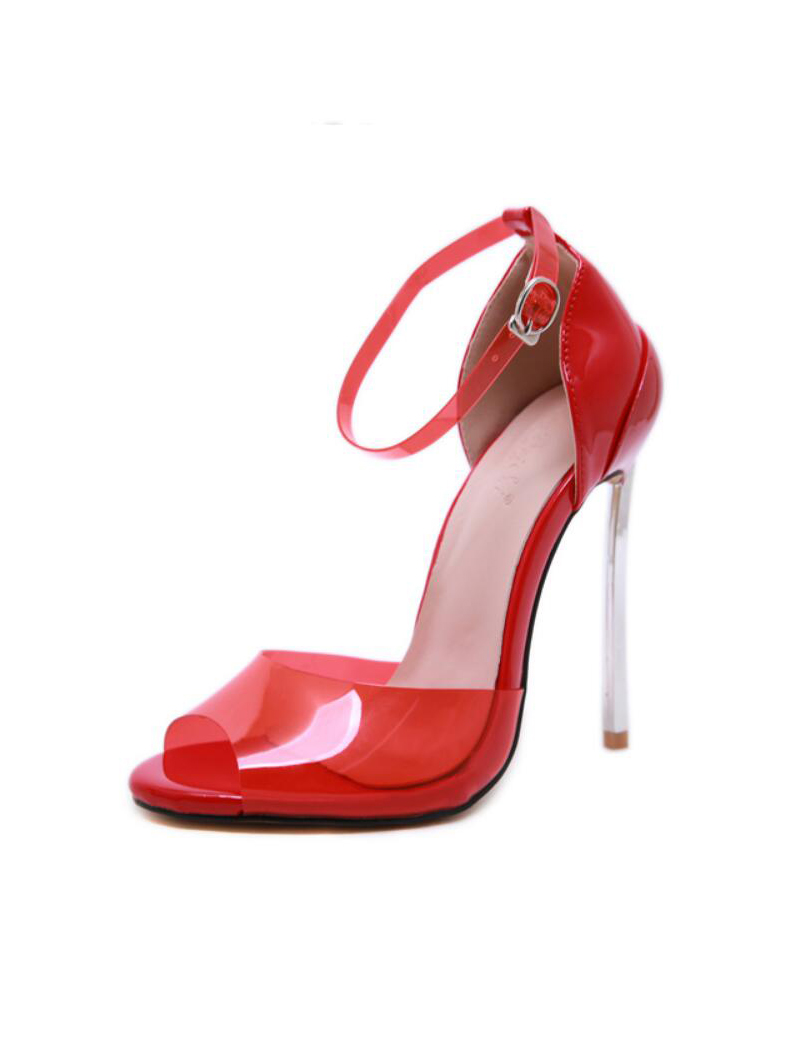 New Style Solid Ankle Strap Heeled Sandals