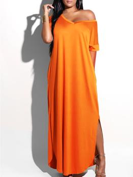 V-neck Pocket Loose Short Sleeve Solid Color Maxi Dress
