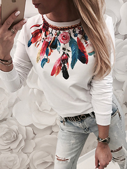 Crew Neck Feather Printed Long Sleeve t Shirt