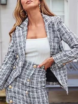 Fashion Plaid Pockets Women's Casual Blazers