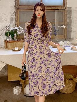 Casual V Neck Short Sleeve Floral Vacation Dress
