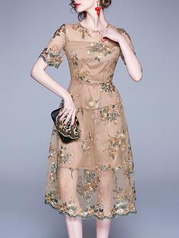 Vintage Embroidered Gauze Patchwork Short Sleeve Dress