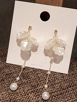 Petal Pearl Long Earrings For Women