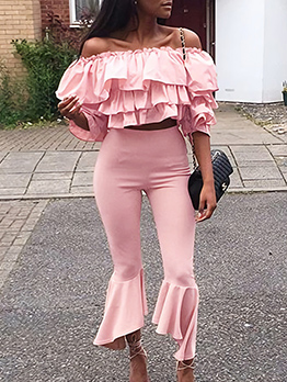 Boat Neck Ruffled Detail Pink Two Piece Pants Set