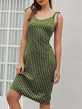 Sexy Dot Print Spaghetti Strap Midi Dress