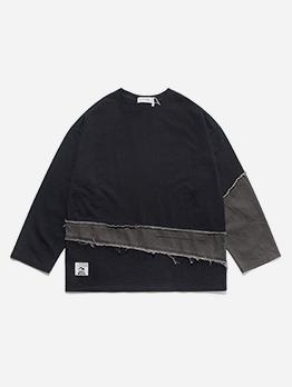 Easy Match Patchwork Men Long Sleeve T-shirt