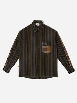 Single-Breasted Pinstripes Mens Long Sleeve Shirts