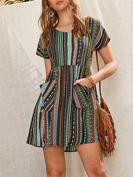 Bohemian Strip Print Pocket Decor Short Sleeve Dress