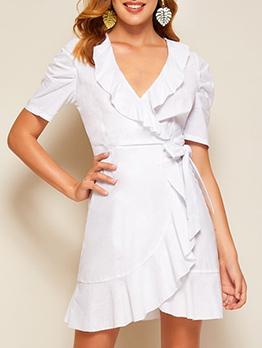 V Neck Puff Sleeve Tie Wrap Ruffled Dress