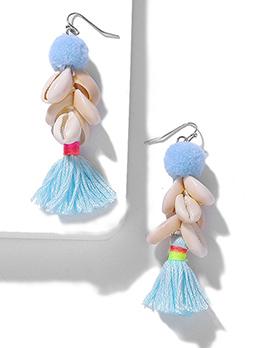 Cute Pompon Shell Tassel Earrings For Women