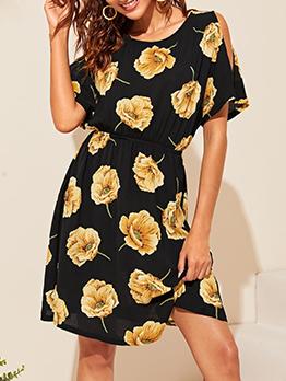 Casual Crew Neck Flower Print Short Sleeve Dress