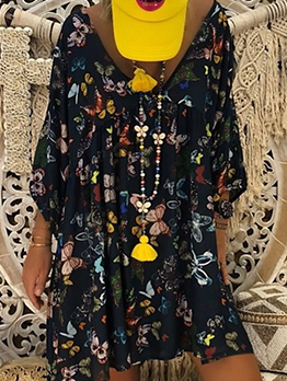 V Neck Butterflies Printing Plus Size Summer Dress