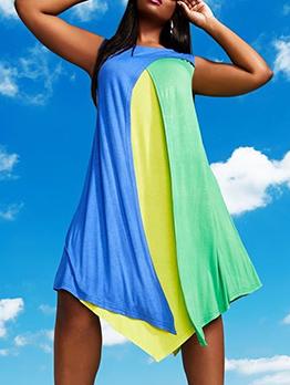 Contrast Color Irregular Hem Sleeveless Dress