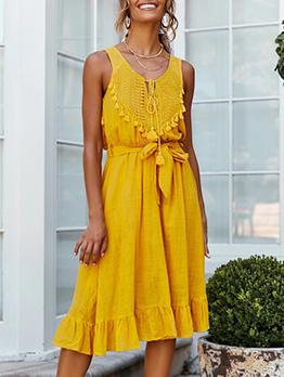 Solid Tassels Decor Tie-Wrap Sleeveless Dress