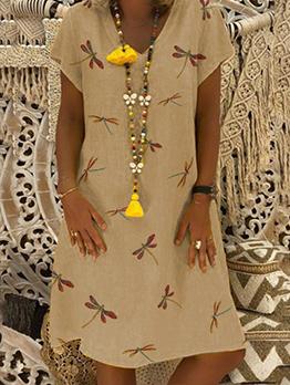 Casual V Neck Dragonfly Printed Short Sleeve Dress