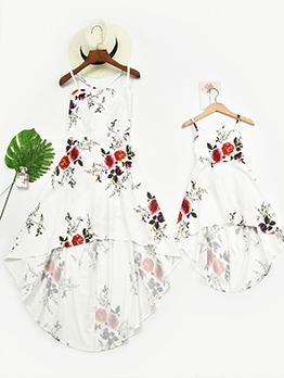 Flower Print High Low Design Strap Dress Family Set
