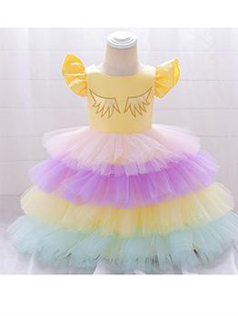 Trendy Iridescent Color Fluffy Tulle Girls Dresses