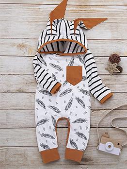 Rabbit Ear Design Feather Print Baby Sleepsuits