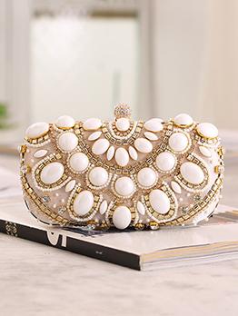 Vintage Style Faux Pearl Decor Evening Bag