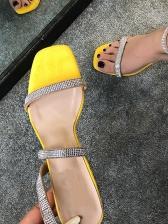 Fashion Rhinestone Decor Women Heeled Sandals