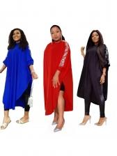 Loose Plus Size Slit Sequins Long Sleeve Dress