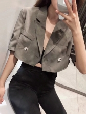 Easy Matching Double-Breasted Cropped Blazer Design