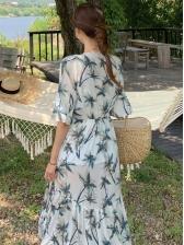 V Neck Tree Print Flare Sleeve Vacation Maxi Dress