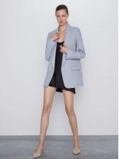 Casual Solid Fake Pockets Long Sleeve Ladies Blazer