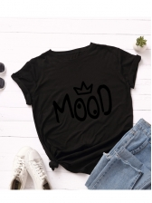 Casual Letter Print Short Sleeve Womens T-shirts