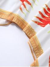 Fashion V Neck Halt Sleeve Animal Print Mid Dress