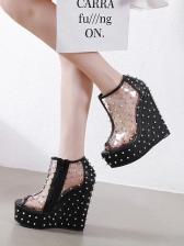Euro Rivet Peep Toe Transparent Wedge Sandals