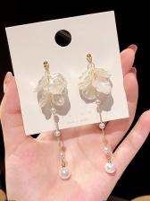 Petal Pearl Long Earrings For Women