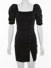 Sexy Single-breasted Short Sleeve Slit Bodycon Dress