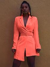 Fashion Lapel Asymmetric Blazer Design Long Sleeve Dress