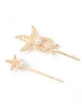 Vintage Starfish Faux Pearl Hair Pins