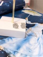 Silvery Rose Asymmetric Earrings For Women