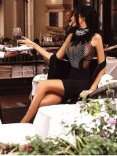 Euro Rhinestone Patchwork Sleeveless Bodycon Dress