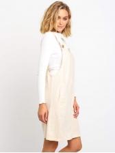 Solid Color Pockets Button Up Suspender Dress