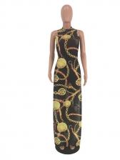 Chain Printing Lightweight High Split Maxi Dresses