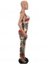 Leaves Printing Split Hem Vacation Maxi Dresses