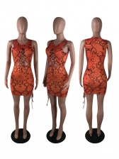 Sexy Snake Print Hollow Out Bodycon Dress