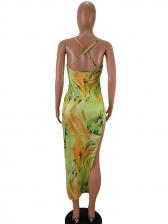 Sexy Mixed Color Backless Split Hem Midi Dress