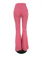 Fashion Hole Pink Flare Pants For Women