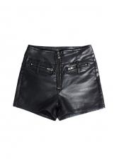 Sexy Skinny Zipper Black Pu Short Pants
