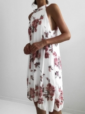 Flower Printing Pleated Off The Shoulder Dress